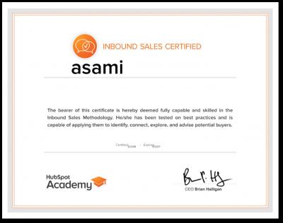 inbound sales certificaiton