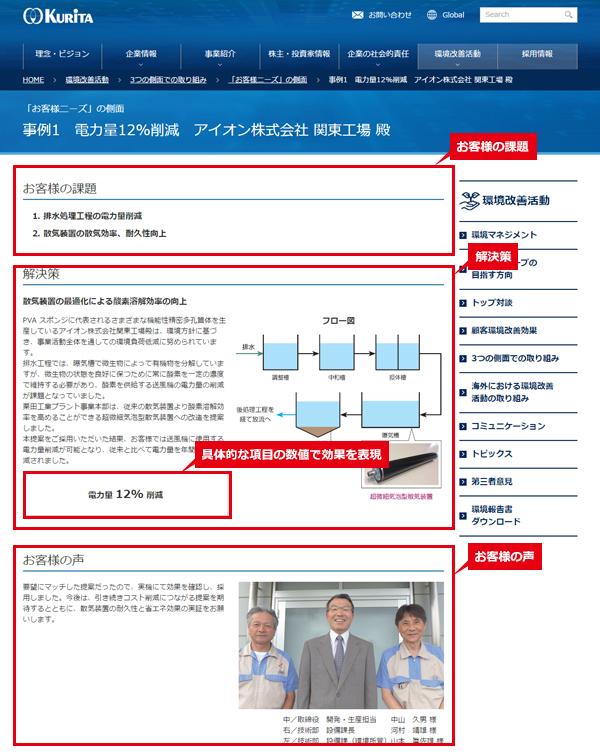 栗田工業株式会社 詳細ページの特徴